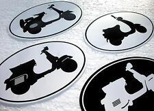 Set of 4 VESPA scooter bumper stickers custom screenprint vinyl oval decals mod