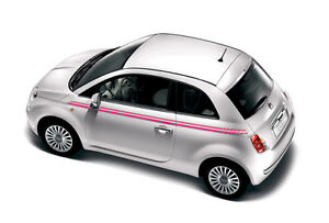 Fiat 500 Italian Flag Stripe Decals Stickers PINK (Correct factory size)