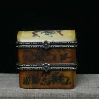 Rare Small Unique Vintage Antique Camel Bone Plum Trinket Jewelry Box