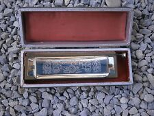 "ANTIQUE VINTAGE GERMAN M. HOHNER HARMONICA KEY ""C"" WITH ORIGINAL CASE"