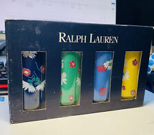 Set of 4 Ralph Lauren 12 ounce Floral Printed Tumbler Drinking Glasses RARE