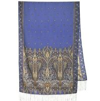Original Blue Pavlovo Posad Shawl Scarf Made in Russia 100% Wool Mermaid Pattern