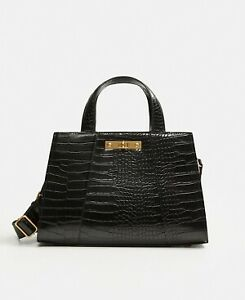 Mango Croc-Effect Tote Bag