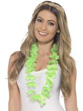 Disfraz Hawaiano Guirnalda verde flores Hawaiano Collar Nuevo Por Smiffys