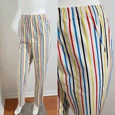Vtg Cotton Blend Elastic Waist Pants Casual Striped Trousers Clown Scrubs Size S