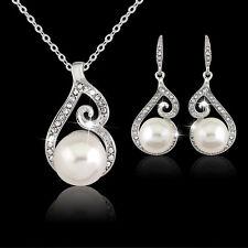 Fashion Women Rhinestone Crystal Pendant Necklace Chain Earrings Jewelry Set New
