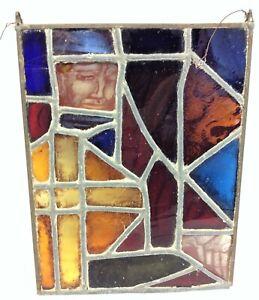 Stained Glass Multicolor Design Face Lion Knight Suncatcher Window Hanger Mosaic