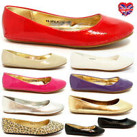 GIRLS FLAT BALLET BALLERINA PUMPS PLAIN WOMENS WORK SCHOOL DOLLY SHOES SIZE 3-8