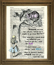 ALICE IN WONDERLAND CHESHIRE CAT TREE RIDDLE: Vintage Dictionary Page Art Print
