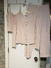 Victoria Secret VS 3PC Pajama Set Pink Leopard Size Small