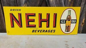 1930s Nehi Beverages Soda Sign. 30inx12in. Embossed. Painted Metal