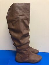 Lower East Side Brown Knee High Fold Fashion  boots man made materials 8.5 W