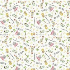 Bazooples Sweet Dreams animal toss white 100% cotton fabric by the yard
