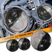 7/'/' 60W Headlight With Bracket+Halo Passing Light For Harley Fatboy Lo FLSTFB