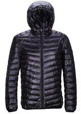 Mens Puffer DOWN JACKET Hooded Coat Feather Lightweight Hoodies Outwear Black