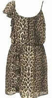Topshop Dress Animal Leopard Print  Frill  Chiffon Lined Black Brown  - Size 10