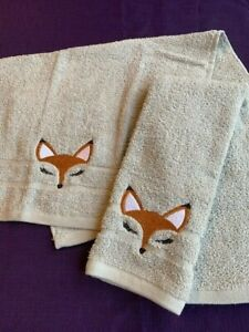 2 New Gray grey  Bathroom HAND Towels FOX FACE lt. grey embroidered  free ship