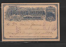 entier postal carte Nicaragua 2 centavos bleu voyagée en 1892