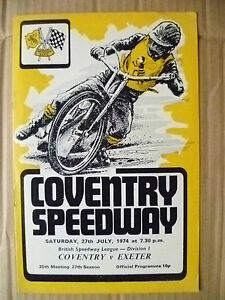 1974 Coventry Speedway- COVENTRY v EXETER, 27 July (Org*, VG)