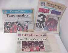 MICHAEL JORDAN 1ST 3 PEAT CHICAGO TRIBUNE SUN-TIMES DAILY SOUTHTOWN NEWSPAPERS