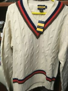 rugby RALPH LAUREN cricket white cool V sweater