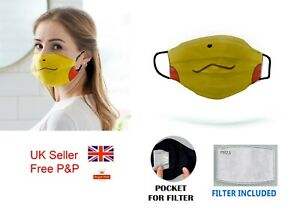 Face Mask Adults Child Pikachu Washable Face Covering with Filter UK ship