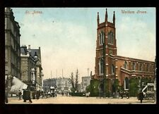 LONDON Walham Green St Johns Church street scene stamp removed early PPC