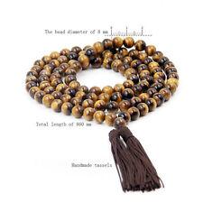8mm Tibet Buddhist 108 Tiger Eye Gem Prayer Beads Mala Necklace