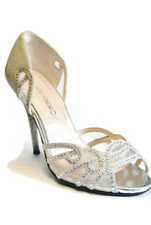 Caparros OpenToe Heels D'Orsay Evening Women Sandals Silver Glitter Rock,8B,Used