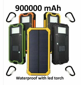 900000mAh Waterproof Solar Power Bank Pack USB External Battery Charger Portable