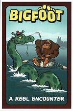 Bigfoot Catches Loch Ness Monster, Fishing, A Reel Encounter --- Modern Postcard
