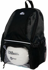 Lish Girls Large School Sport Volleyball Backpack Bag w Ball Compartment (Black)