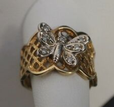 14 K Tru Brite Yellow Gold Ring with White Gold Butterfly Size 6.5