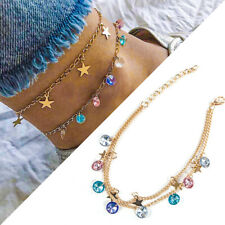 Ladies Girls Gold Star Rhinestone Anklet Ankle Bracelet Chain Adjustable