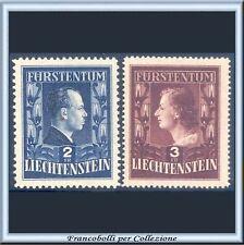1951 Liechtenstein Effigi dei Principi Regnanti n. 266/267 Nuovi Integri **