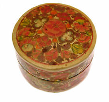 Handpainted Papier Mache Trinket Box and Lid 2 inch