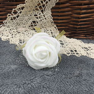 Bridal Wedding Corsage Ivory Wrist Rose Flower Bouquet Artificial Bridesmaid