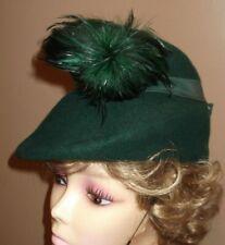 Classy Vintage Authentic 1940's Green Felt Women's Tilt Hat W/ Feathers Nice!