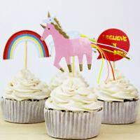 Einhorn Party Cupcake Topper Kuchen nimmt Geburtstag Party Baby Shower Decor  ^