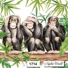 (1714) Two Individual Paper Luncheon Decoupage Napkins - Chimpanzee Monkey Ape