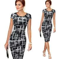 Women's Printed O-Neck Bodycon Short Sleeve Party Cocktail Pencil Mini Dress