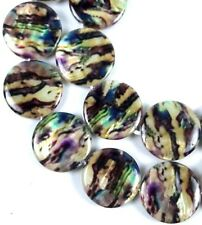 20mm Brown Beige Swirl with Purple Lip Shell Mother Of Pearl Disc Beads 16""