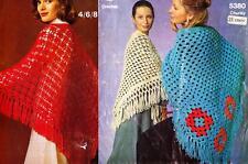 3 RETRO SHAWLS lacy & 2 chunky  - COPY Ladies crochet pattern