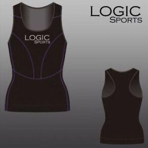 Logic Ladies Womens Base Layer Compression Running Sports Vest + Yoga/Gym Top