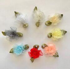 Organza Carnations Ribbon Flowers Appliques Small Assorted Colors 36 144 pcs