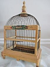 Vtg Wood Bird Cage Hand Painted Dome Top Wooden Made in USA