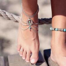 1pc Boho Turquoise Beads Tassel Chain Anklet Barefoot Sandals Beach Foot Jewelry
