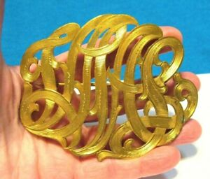 HUGE ANTIQUE GOLD BROOCH PIN SCRIPT INITIALS 3 X 3 1/2 INCHES