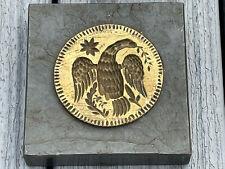 Interesting Antique Brass Die Mold Stamp Eagle Design On Carved Stone