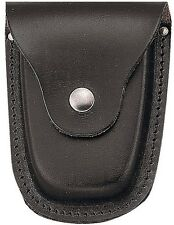 Black Leather Deluxe Handcuff Case with Snap Closure
